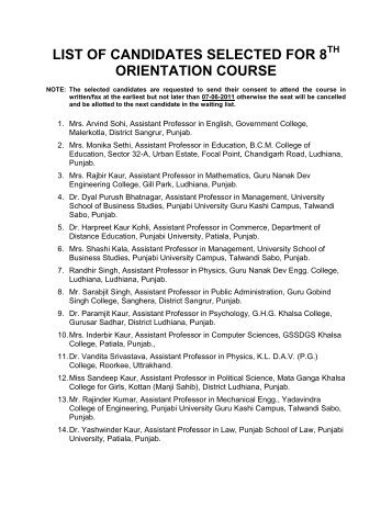 list of candidates selected for 8 orientation course - Punjabi ...