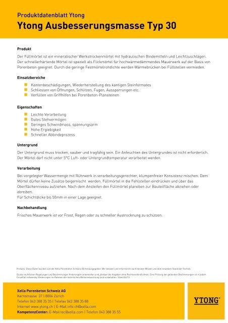 Ytong Ausbesserungsmasse Typ 30 Produktdatenblatt