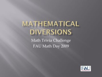 The 2009 Math Trivia Challenge