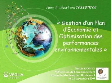Optimisation des performances environnementales - Master ...