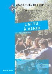 L'actu à venir - 11/07/2013 - Università di Corsica Pasquale Paoli