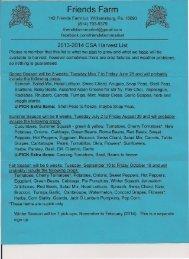 CSA Harvest List 2013-2014