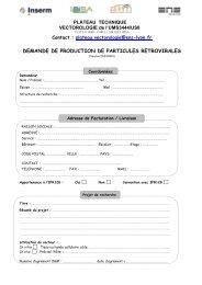 formulaire vecteurs 16-10-2012 - BioSciences Gerland - Lyon Sud