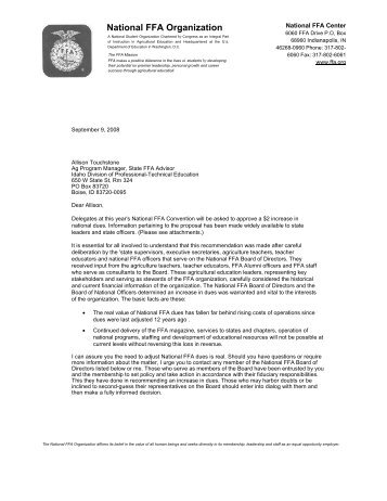 National FFA Dues Letter - Idaho Professional-Technical Education