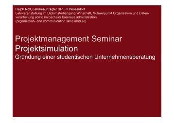 Projektmanagement Seminar Projektsimulation