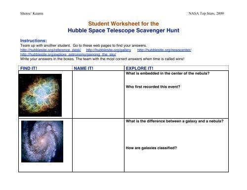 Student Hst Scavenger Hunt Worksheet 3 Top Stars