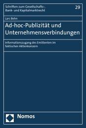 Ad-hoc-Publizität und Unternehmensverbindungen - Nomos