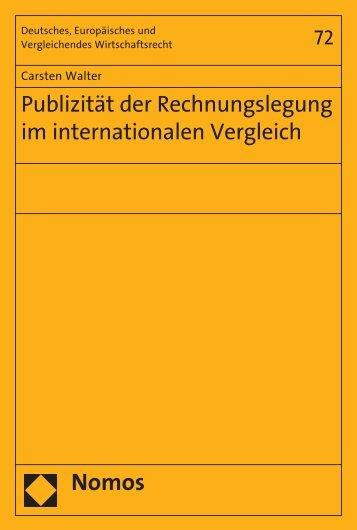 Publizität der Rechnungslegung im internationalen Vergleich - Nomos
