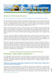 the November Newsletter, Homeopathy - single remedies ...