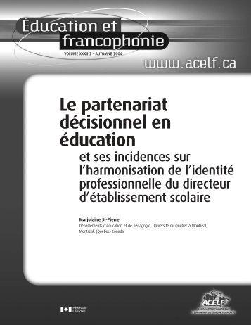 Le partenariat décisionnel en éducation et ses incidences sur ... - acelf