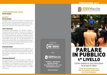 """Corso """"Parlare in Pubblico"""" - CSV Marche"""