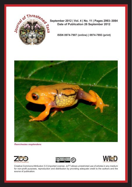 Booklet 26sept12 S Pdf Journal Of Threatened Taxa