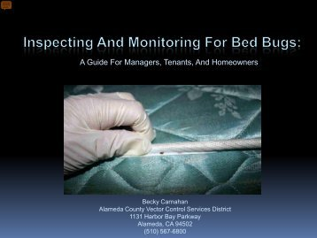 Inspecting and Monitoring For Bed Bugs - Vector Control Services ...