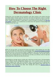 How To Choose The Right Dermatology Clinic