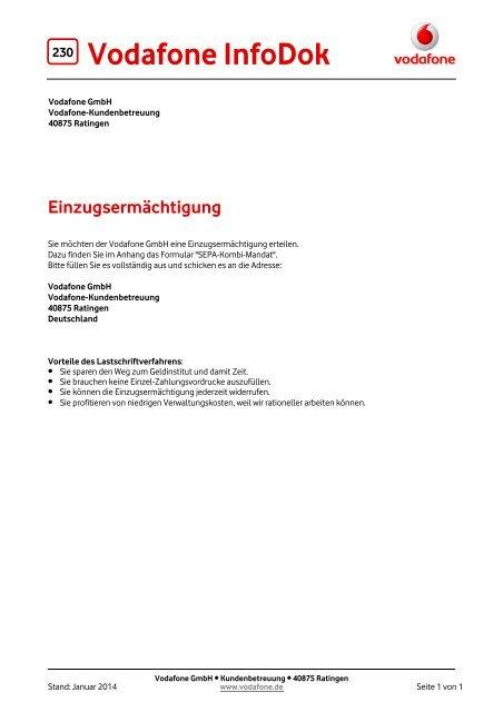 Infodok 230 Einzugsermachtigung Vodafone
