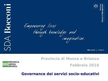 Governance dei servizi socio-educativi: il percorso - Provincia di ...