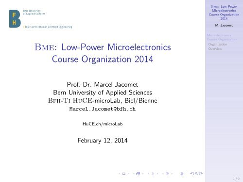 Bme: Low-Power Microelectronics Course Organization ... - microLab
