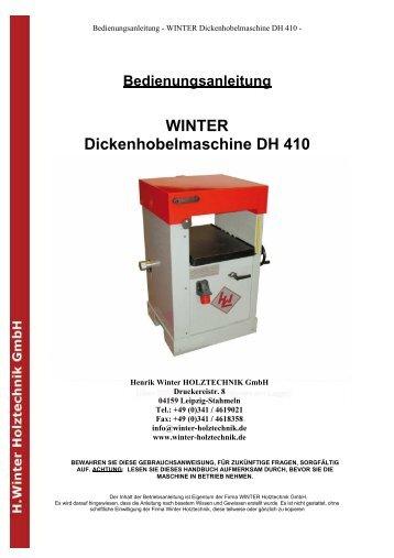 Bedienungsanleitung WINTER Dickenhobelmaschine DH 410