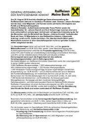 GENERALVERSAMMLUNG DER RAIFFEISENBANK ADMONT