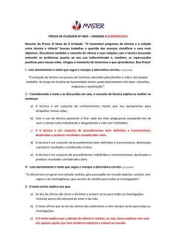 PROVA DE FILOSOFIA 8º ANO – UNIDADE II (COMENTADA ...