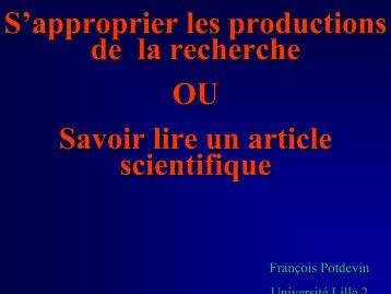 S'approprier les productions de la recherche - Faculté des sciences ...