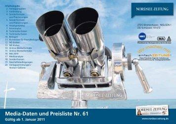 Media-Daten und Preisliste Nr. 61 - Nordsee-Zeitung