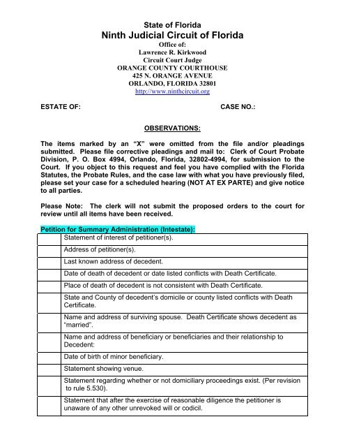 Checklist for Summary-Intestate - Ninth Judicial Circuit