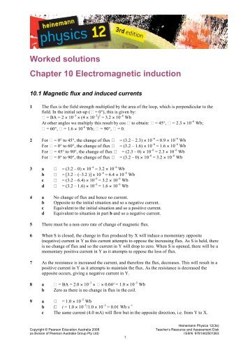 Worked solutions Chapter 10 Electromagnetic induction - PEGSnet