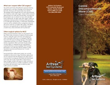 Canine Unicompartmental Elbow (CUE) - Arthrex Vet Systems