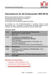 Informationen für die Erstsemester (WS 09/10) - Fachbereich ...