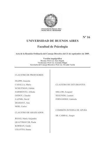 Sesión Ordinaria - Facultad de Psicología - Universidad de Buenos ...