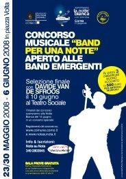 """CONCORSO MUSICALE """"BAND PER UNA NOTTE"""" APERTO ALLE ..."""