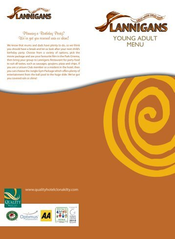 YOUNG ADULT MENU - Quality Hotel and Leisure Centre