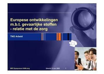 Presentatie Dhr. Zwetsloot, TNO - Milieu Platform Zorgsector