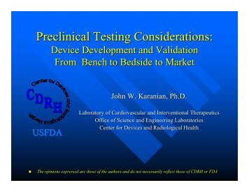 Preclinical Testing Considerations: