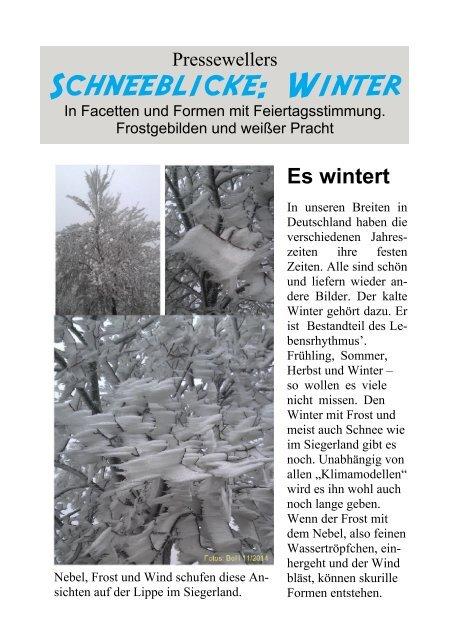 Presseweller: Es wintert