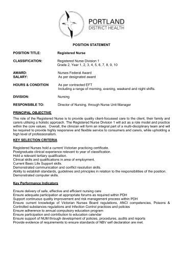 registered nurse position description