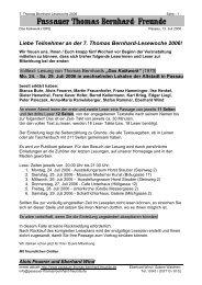 Liebe Teilnehmer an der 7. Thomas Bernhard-Lesewoche 2006!