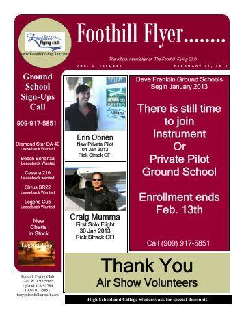 February Newsletter 2013 - Foothill Flying Club