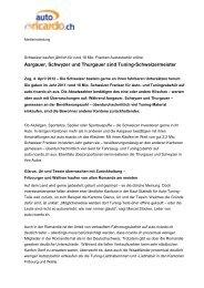 Aargauer, Schwyzer und Thurgauer sind Tuning-Schweizermeister