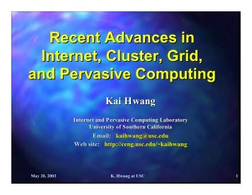 Recent Advances in Internet, Cluster, Grid, and Pervasive Computing