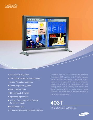"40"" Digital/Analog LCD Display • 40"" viewable image size • 170 ..."