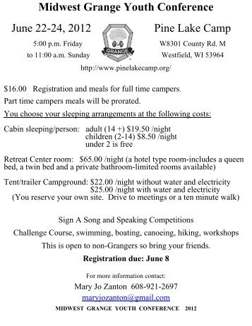 Midwest Grange Youth Conference June 22-24, 2012 Pine Lake ...