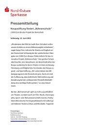 Stiftung fördert Domschule - Nord-Ostsee Sparkasse