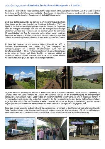 Reisebericht Sonderfahrt nach Wernigerode - 9. Juni 2012