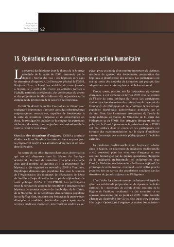 15. Opérations de secours d'urgence et action humanitaire