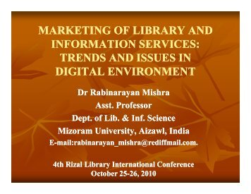 MARKETING OF LIBRARY AND INFORMATION SERVICES ...