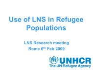 Use of LNS in infant and young child refugee populations