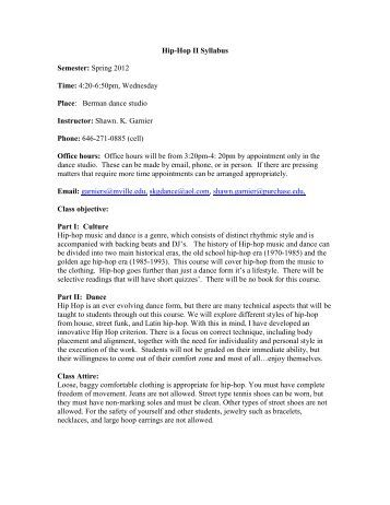 Hip-Hop II Syllabus Semester: Spring 2012 Time: 4 ... - Mvilledth.org