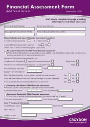 Financial assessment form for adult social services - Croydon Council